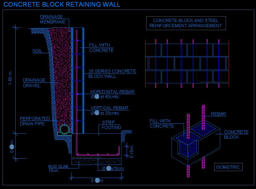 Block Retaining Wall Design Example : Reinforced Concrete  Detallesconstructivos