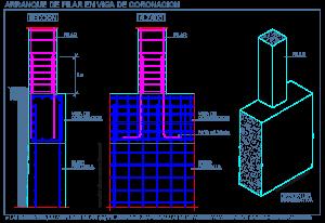 arranque_pilar_viga_coronacion_muro_pantalla_hormigon_armado_dwg_bloque_detalle