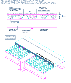 composite_steel_deck_slab_beam_connection_forjado_enrasado_union_losa_colaborant