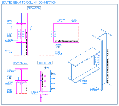 steel_beam_to_column_flange_bolted_connection_shear_framed_web_simple_hole_angle