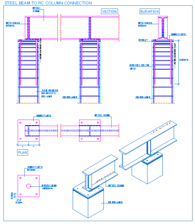 steel_beam_to_reinforced_concrete_connection_steel_frames_structural