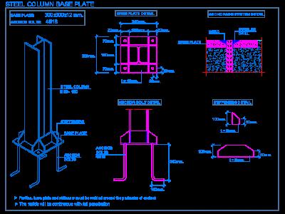 Steel column base plate