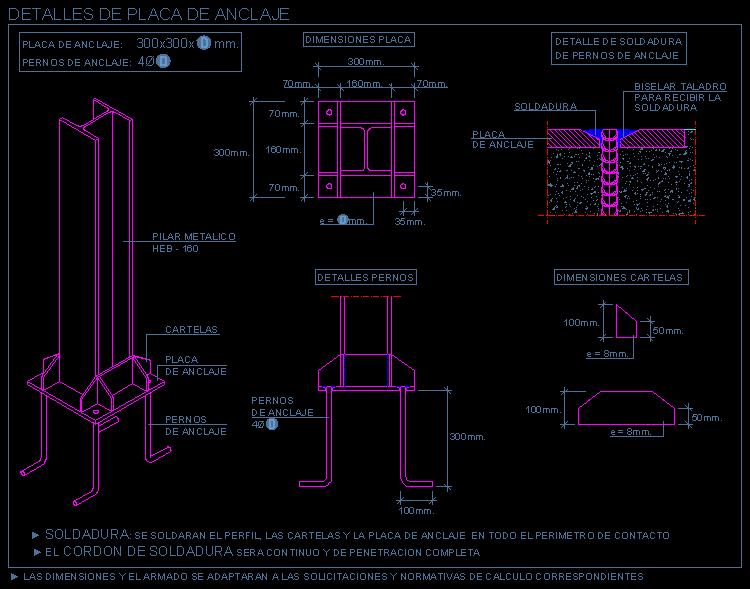 Fundaciones for Placa de acero