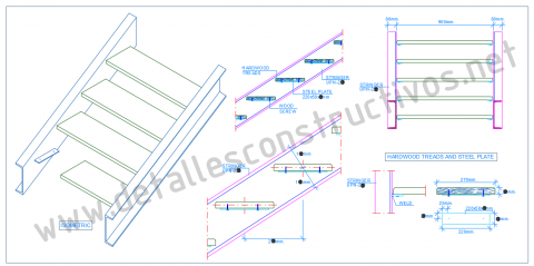 Construction_detail_double_stringers_steel_staircase_stairs_concealed_wooden_plank_tread_steps_UPN_channel_sections_profile_Dwg_drawing_steel_frames_beams_stahltreppe_holzstufen_stalen_trap_houten_treden_tangga_kayu_keluli_design