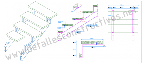 Construction_detail_double_stringers_steel_staircase_stairs_raised_wooden_plank_tread_steps_RHS_rectangular_hollow_sections_profile_Dwg_drawing_steel_frames_beams_stahltreppe_holzstufen_stalen_trap_houten_treden_tangga_kayu_keluli_design