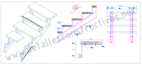 Construction_detail_double_stringers_steel_staircase_stairs_raised_wooden_plank_tread_steps_UPN_channels_profile_sections_perspective_Dwg_drawing_steel_frames_beams
