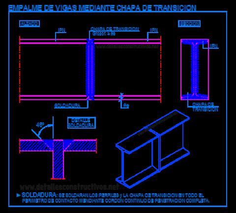 IPN_empalme_union_testa_chapa_soldadura_viga_metalica_laision_poteaux_poutre_metallique_trave_welded_connection_joint_steel_frame_beams_dwg
