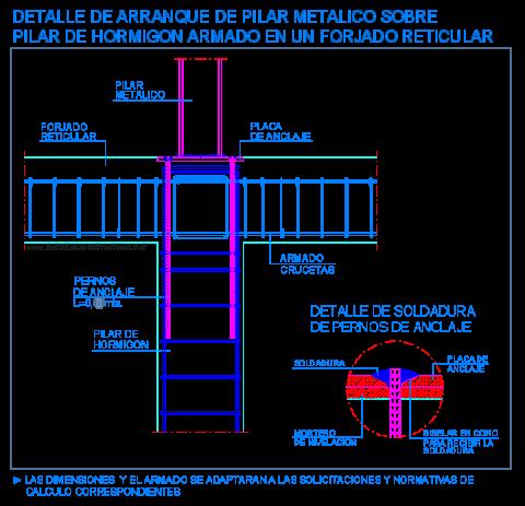 arranque_pilar_hormigon_columna_metalico_reticular_losa_forjado_casetonada_dwg