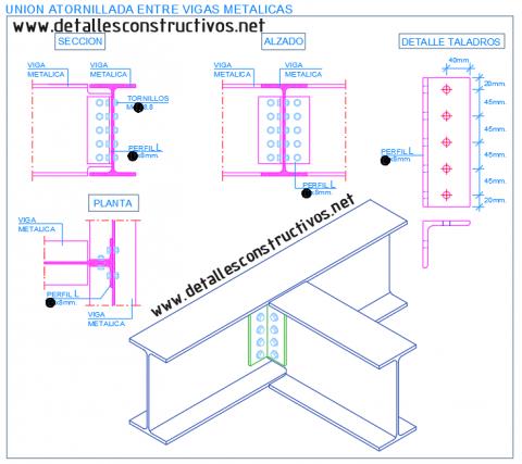 empalme_union_articulada_atornillada_perfil_viga_metalica_acero_angular_ipe_estructura_liaison_poutre_profile_metallique_acier_boulonnes_solive_plancher_cornieres_structure_assemblage_conexion_detail