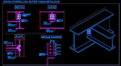 empalme_union_articulada_atornillada_perfil_viga_metalica_acero_angular_ipe_hb_estructura_liaison_poutre_profile_metallique_acier_boulonnes_solive_plancher_cornieres_structure