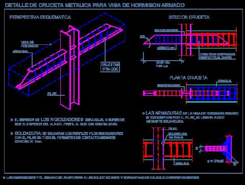 entrega_viga _hormigon_pilar_metalico_columna_cruceta_heb_ipn_detalle_dwg