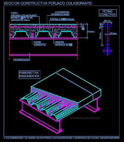 forjado_colaborante_losacero_pernos_conectores_composite_steel deck_dwg_cad