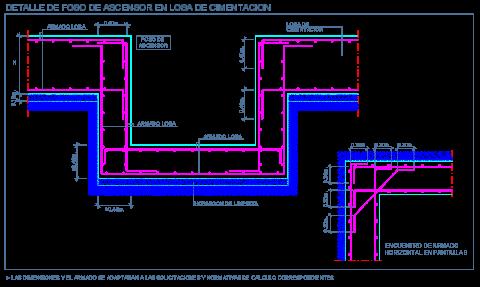 losa_cimentacion_foso_ascensor_hormigon_concreto_armado_dwg_detalle
