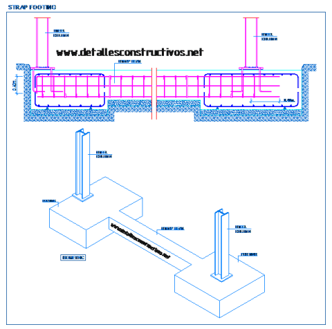 pad_shallow_foundations_footing_strap_beam_footings_steel_beam_rcc_Einzelfundamente_Frostschürze_Stahlstützen_stopa_fundamentowa_belka_semelle_beton_arme_longrine_liaison_Poteau_metallique_dwg