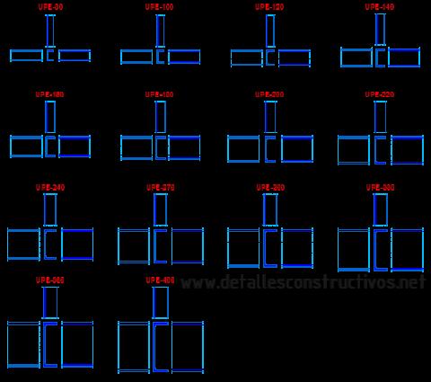 perfiles_metalicos_upe_normalizados_canales_c_viga_acero_estructural_Fers_U_ailes_parallèles_poutres_acier_trave_profili_acciaio_perfis_upn_OTEL_LAMINAT_grinzi_unp_dwg_cad_bloque_block