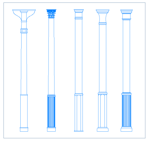 posts_cast_iron_columns_dwg_cad_pillars