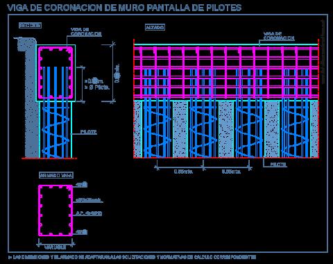 pilotes_pantalla_muro_viga_coronacion_pile_wall_beam_dwg_cad