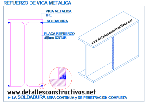 refuerzo_perfil_ipe_pilar_viga_metalica_acero_estructura_soldadura_placa_platabanda_lateral_rehabilitacion_existente_poutre_poute_profile_metallique_acier_structure_renforcement_reforço_chapa_detalle_dwg