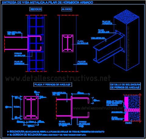 union_apoyo_pilar_hormigon_armado_columna_concreto_viga_metalica_perfil_poutre_acier_poteaux_beton_arme_poutre_assemblage_soude_profile_metallique_acier_structure_nodo_collegamento_travi_acciaio_pilastri_detail