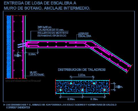 union_losa_escalera_muro_sotano_contencion_anclajes_stairs_slab_wall_dwg_cad