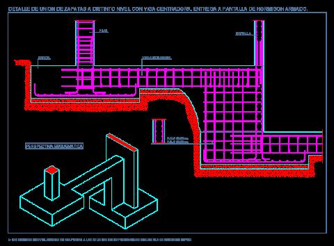 zapata_aislada_pantalla_nucleo_ascensor_distinto_nivel_desnivel_hormigon_armado