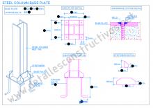 steel_column_base_plate_structural_connection_frame_design_stiffeners_welded_heb_profile_anchor_achorage_detail_draw_boulons_ancrage_soudure_platine_plaque_assie_poteau_metallique_tiges_pied